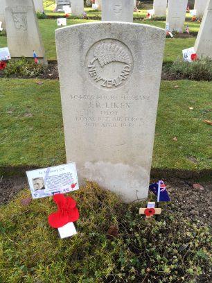 The grave of Flight Sergeant John Raby Liken in St. Luke's churchyard, Whyteleafe. November 2019. | Linda Duffield