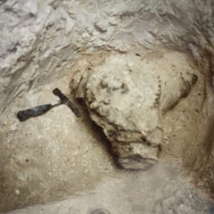 The propeller hub from Trueman's Hurricane as it was found, 11ft below the surface, during the excavation in 1999.  | Colin Lee