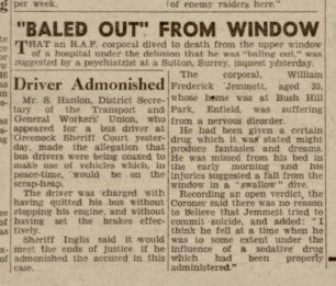 Cpl. Jemmett's death reported in the Daily Record, 13th January, 1943.