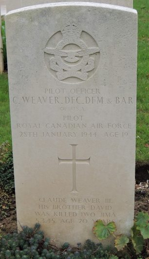 The grave of Pilot Officer Claude Weaver, DFC, DFM and Bar in Meharicourt Communal Cemetery.  | Andy Cooper