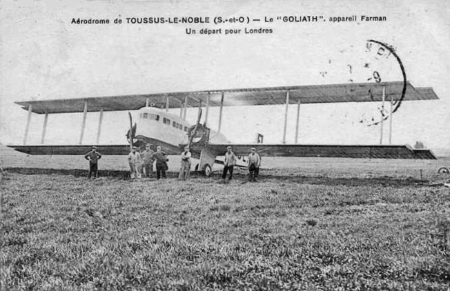 A Farman F.60 Goliath at Toussos-le-Noble before a flight to London.  | Unknown: Public Domain