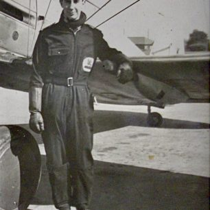 Pilot Officer Hugh Henry-May. The building in the background might be Kenley's Operations Room. | Copyright Michael Henry-May