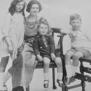 The Henry-May family. Left to right, older sister Poppy, Hugh's Mother, Hugh, older brother Roy.  | Michael Henry-May