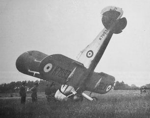 Gloster Gladiator K7893 after P/O Henry-May overshot the aerodrome on 27/5/1937. He was unhurt.  | Mr. J. W. L. Goldsmith (Peter Flint).