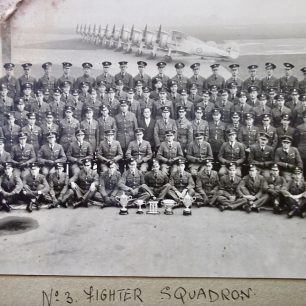No.3 squadron at RAF Kenley. Pilot Officer Henry-May is fifth from left, second row from the front.