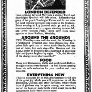 A newspaper advertisement for 'London Defended.' | The 'Sporting Times,' 9/5/1925