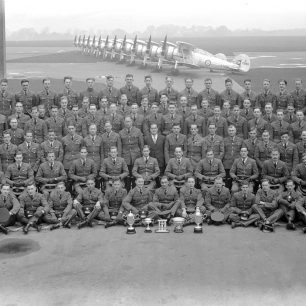 No.3 Squadron (hats off) with Hugh Henry-May fifth from right, second row from front.  | Surrey History Centre