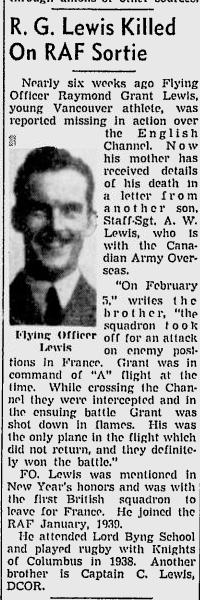 Flying Officer Raymond Grant Lewis | Canadian Virtual War Memorial