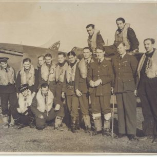 Pilots from No. 615 squadron  in front of a Hawker Hurricane. Location unknown, possibly Northolt or Kenley. | Gerry Burke