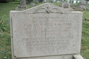 Sgt. Harold Henry Allgood's grave at St. Mark's, Cambridge. His brother Edwin is also remembered on the grave stone.
