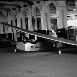 A Sedburgh glider inside the last of Kenley's original Belfast Truss hangars in 1974.  | Allan Melmore