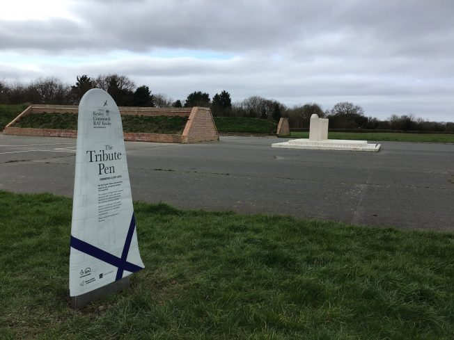 The Hurricane Wing sign in pride of place next to The Tribute blast pen. | Linda Duffield