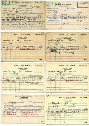 Images of casualty cards from the RAF Museum Archives, Lt. Collison's is the third one down the left hand column | RAF Museum Archives