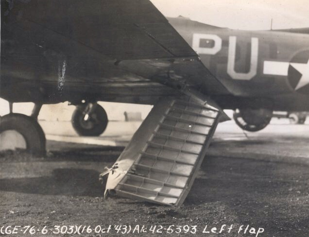 Left flap damage on B-17F