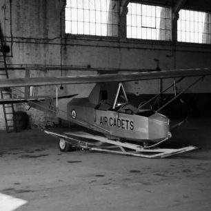 A Slingsby Cadet TX Mk.III in the last remaining original hangar at Kenley.  | Allan Melmore