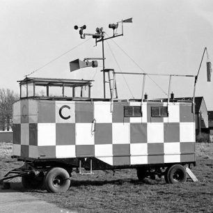 This Control Caravan was lost in the hangar fire of 1978. Michael Tinkler remembers that the tannoy speaker on the roof was a re-purposed tannoy from the hangar.  | Allan Melmore