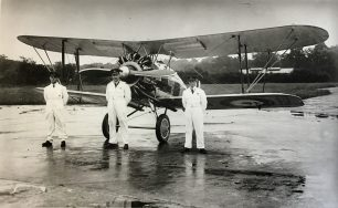 Bader, Fl.Lt. Harry Day and Fl.Off. Geoffrey Stephenson (reserve). | Bunce Brothers: Bourne Society
