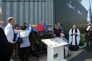 The family of Pilot Officer Albert van den Hove d'Ertsenrijk unveiling the Rolls-Royce Merlin engine from his Gloster built Hurricane. | Kent Battle of Britain Museum