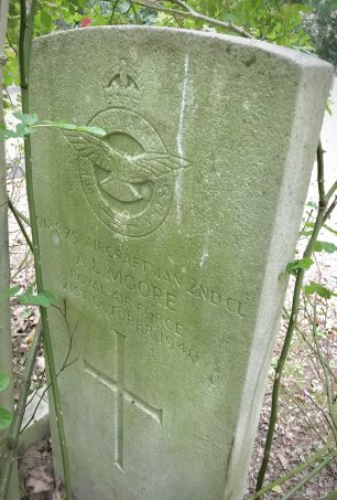 The grave of AC2 Moore in New Southgate Cemetery, photographed June 2020.  | Linda Duffield