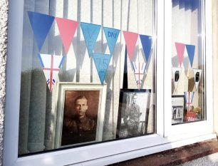 Marcelle William's very personal V.E.Day display which remembers relatives who served including William Battle, killed defending Kenley Waterworks on 18th August, 1940.  | Marcelle Williams