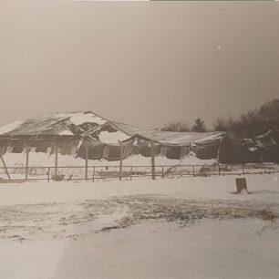 615VGS hangar, collapsing under snow, 1980's | Paul Burchell