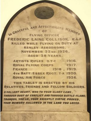 Memorial tablet to F/O Collison in Epping Old Church.