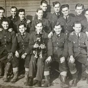 Unknown personnel of 615 Squadron and mascot. Back row, second left, possibly LAC Alfred Bert Spencer. | Merlewood Estate Office