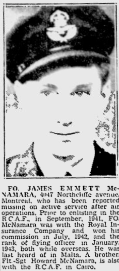 The death of F/O McNamara reported in the Montreal Gazette.  | Operation Picture Me