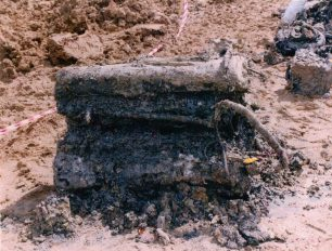 The Merlin engine from Archer's Spitfire LX996, recovered from the crash site in May 1996.  | Andy Long