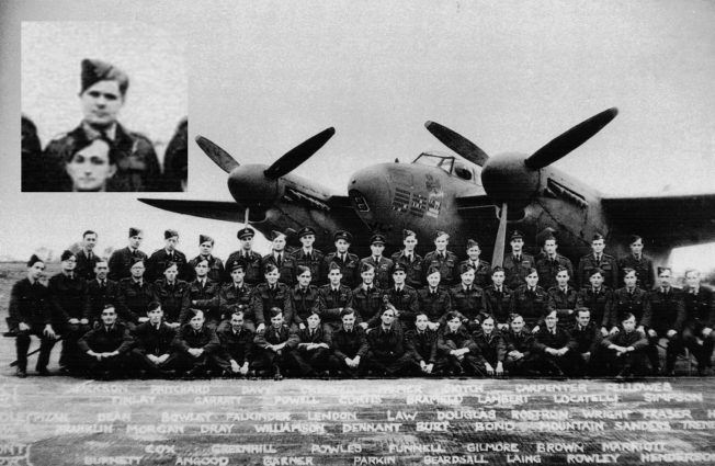 109 Squadron. Flying Officer Ernest Walter Garrett DFC is fourth from left and inset. (Photo: Andy Long, from the collection of Ron Curtis DFC, who is eighth from left, back row). | Andy Long