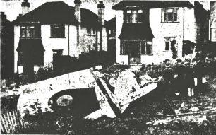 The wreck of P/O Ireland's Bristol Bullldog in the garden of