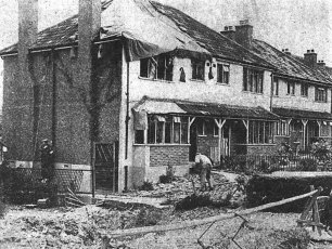 Newspaper clipping showing damage to houses caused by the crash of the No.109 Squadron Mosquito (ML962).  | Coulsdon History Facebook Group