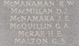F/O J. E. McNamara remembered on the Runnymede Memorial. | Jane Collman Williams