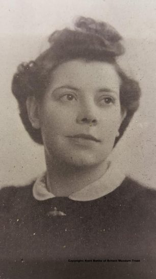 Eileen Corkett wearing the gold and diamond brooch given to her by Allan on their wedding day in 1939.  The brooch is displayed at The Kent Battle of Britain Museum at Hawkinge as a last memorial to Allan, who flew with No.253 Squadron during the Battle of Britain, and his wife Eileen and daughter Anne.   Kent Battle of Britain Museum