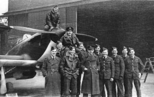 253 Squadron at RAF Northolt (see link below), with a smiling Allan carried shoulder-high by his fellow pilots.
