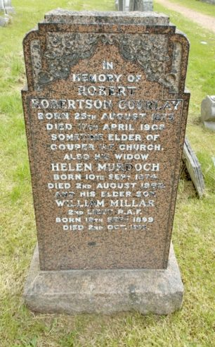 William Millar Gourlay remembered on his parents' headstone, Burntisland Cemetery, Fife.  | Mike Brown