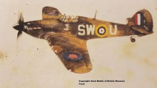 Allan was a keen artist and painted this, the Hurricane he flew during the Battle of Britain whilst serving with No.253 Squadron. | Kent Battle of Britain Museum