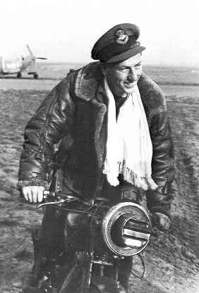 'Buck' on his AJS500, possibly RAF Digby on 11th September, 1941.