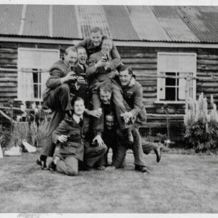 613 Squadron in the grounds of 'The Crown' pub, Odiham, late June, 1940. Donald Stewart, bottom left.  | RAF Odiham Station album via Joel Diggle