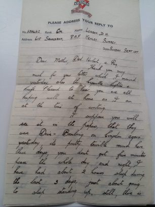 Cpl. Leason's letter home, 1st September. Page 1.  | Tony Leason