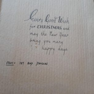 Christmas card sent by F/Sgt. Leason while serving at Kenley.  | Carol Leason
