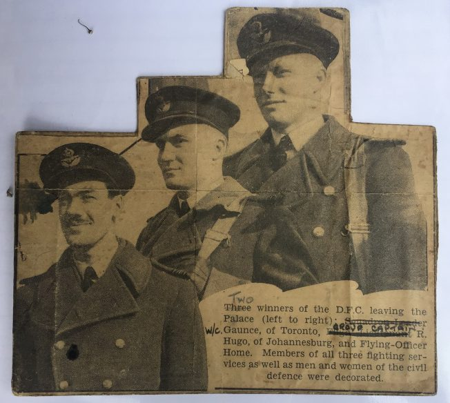 Press clipping: Gaunce, Hugo and Hone of No.615 Squadron.  | Carol Brown