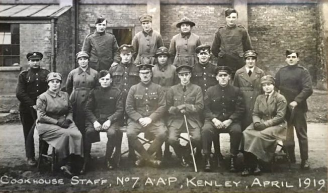 Cookhouse Staff, No.7 A.A.P., Kenley, April 1919.  | Wattenden Arms