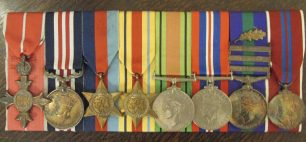 D. G. Roberts medals - M.B.E., Military Medal, 39-45 Star, Africa Star, Defence Medal, War Medal 39-45, General Service Medal (1918 GSM) with Bronze Oak Leaf (mentioned in despatches) and clasps for Malaya, Cyprus and Arabian Peninsula, Queen Elizabeth Coronation Medal. | RAF Regiment Heritage Centre