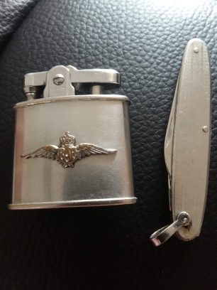 The cigarette lighter and knife which Douglas refers to in his letter. | Tony Leason