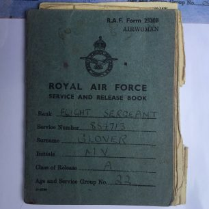 F/Sgt. Glover's Service and Release Book. Front cover. | Carol Brown