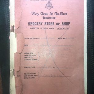N.A.A.F.I. Grocery Store or Shop Invoice Book, 1939. Cover. | Jason Hopkins