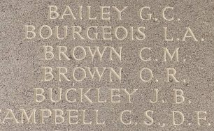 F/Lt. O. R. Brown remembered on the Runnymede Memorial.  | Jane Collman Williams