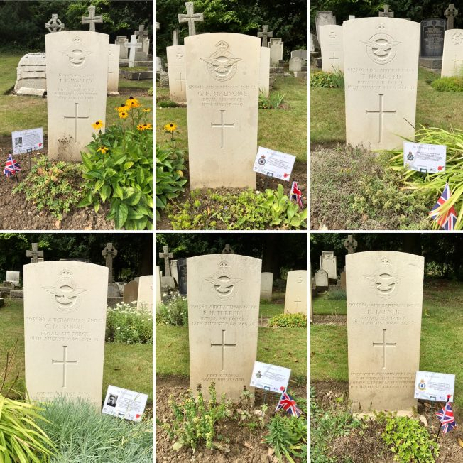 The graves of the six men buried at St. Luke's, who lost their lives on 18/8/1940.  | Linda Duffield