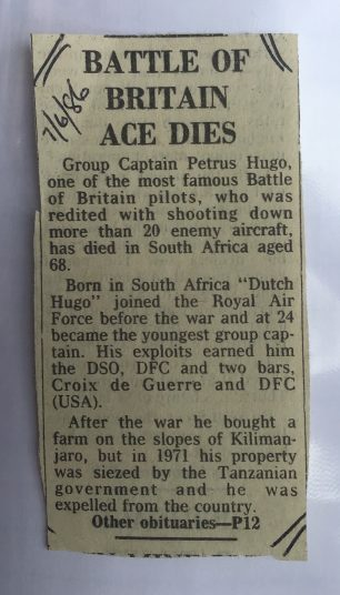 Hugo's death reported in the press.  | Carol Brown